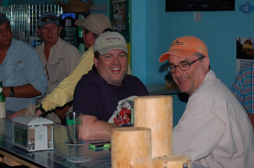 Mark and John enjoying the food and drink at Barfly