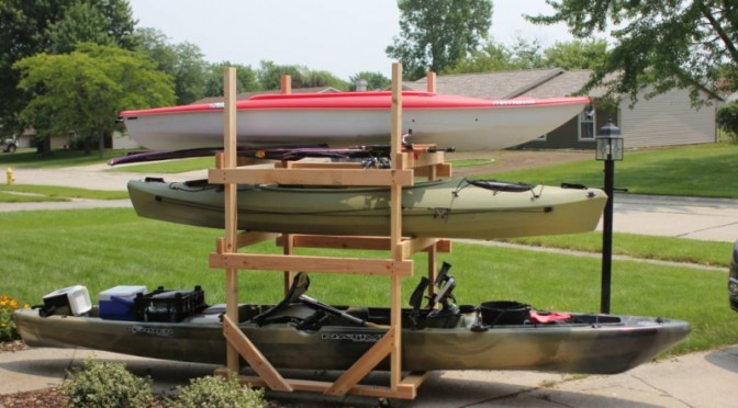 DIY Rolling Kayak Storage Rack (2x4s and caster wheels ...